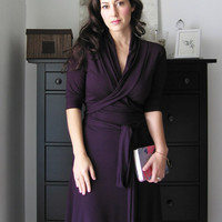 Summer Dress With 3/4 Sleeves, Casual Dress ,Knee length, A Line Jersey Wrap Dress