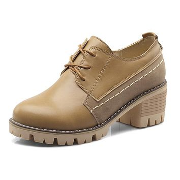 Lace Up Chunky Heels Oxford Shoes for Women 2062