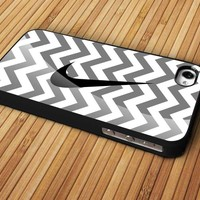 Cevron Grey With Nike Logo Design For Apple Phone, IPhone 4/4S Case, IPhone 5 Case, Cover Plastic