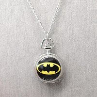 Batman Pocket Watch -Locket Necklace -Watch Necklace -Mirror Inside -Antique Silver = 1927969604
