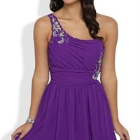 Short Carefree Prom Dress with Stone Strap and Illusion Back