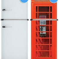 """Door Wall Fridge LAMINATED STICKER or not sticky PAPER London Telephone Box Phone booth poster 30x80""""(77x203 cm) (Paper)"""