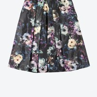 Midnight Floral Skirt in Black and Navy and Purple