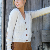 Study Date Cream Cropped Cardigan With Suede Elbow Patches