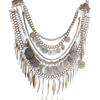 Multilayer Silver Coin Geometric Necklace
