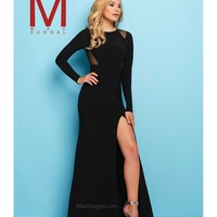 Preorder - Mac Duggal 65524L Black Fitted Long Sleeve Jersey Gown 2016 Prom Dresses