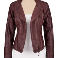 Asymmetrical Zip Faux Leather Jacket With Zippers - Oxblood