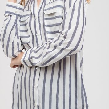 Blue Long Sleeve Striped Pocket Top