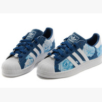 """Adidas"" Fashion Shell-toe Flats Sneakers Sport Shoes Blue roses"