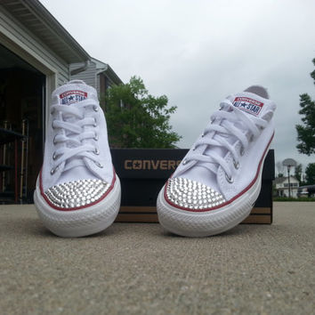 Converse White Bedazzled Shoes