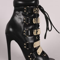 Strappy Metallic Shield Combat Lace Up Stiletto Booties