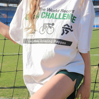 Loose Athletic-Themed Print T-Shirt