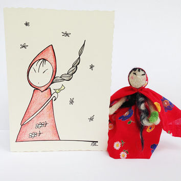 Greeting card with doll, handmade gift set in collaboration with Pupillae Art Doll