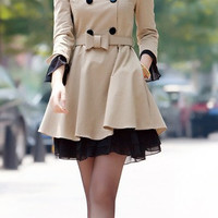 Cream-colored / Yellow / Red  Cotton Jacket women's Coat  women dress with belt Autumn Spring---CO006