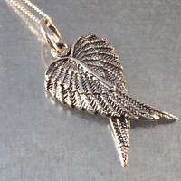 Angel Wing Necklace, Angel Wing Necklace, Sterling Winged Necklace, Angel Charm, Holiday Gift