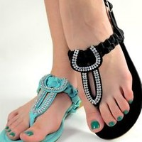 Womens Summer Sandals T Strap Rhinestone Flat Shoes Mint Black or Nude New