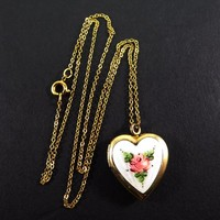 Pink Enamel Guilloche Rose Locket Pendant Necklace -  Gold Filled Links Chain & Heart Locket Signed 1/20th 12K Vintage 1950s 1960s Jewelry