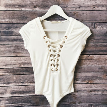 Kendall Lace Up Body Suit (White)