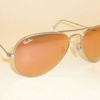 One-nice™ New RAY BAN Aviator Sunglasses Matte Silver RB 3025 019/Z2 Pink Mirror 55mm
