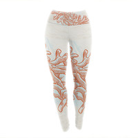 "Sam Posnick ""Finger Coral"" Beige Orange Yoga Leggings"