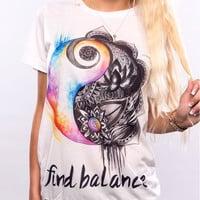 """White """"Find Balance"""" Letter and Floral Print Short Sleeve T-Shirt"""