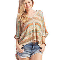 Boho Button-Up Striped Sweater | Wet Seal