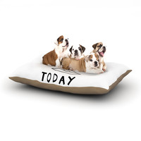 """Vasare Nar """"Lazy Today White"""" Typography Dog Bed"""