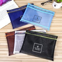 Grid Travel Cosmetic Bag Women Fashion Transparent Mesh Zipper Makeup Case Organizer Storage Pouch Make Up Toiletry Bag