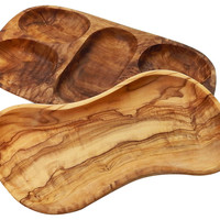 Olive Wood Tapas Dishes, Set of 2, Serving Trays