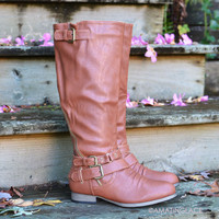Buckle Down Cognac Riding Boots