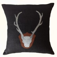 """Amore Beaute Throw Pillow Cover in Black Burlap with Exquisitely Embroidered Antlers - Handcrafted Cushion Cover - Gift for Him - Anniversary Gift - Wedding Gift - Housewarming Gift - Decorative Pillow Cover - Black Burlap Pillowcase (14"""" X 14"""")"""