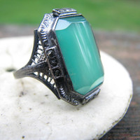 Beautiful Vintage Large Glowy Green Chrysoprase and Marcasite Ring - Lovely Filigree and Details