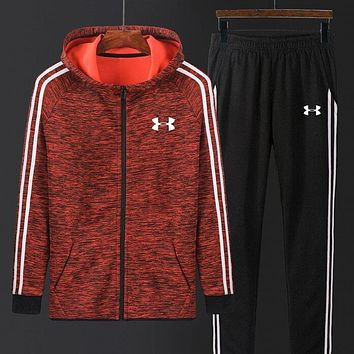 """Under Armour"" New Men Women Casual Print Hooded Zipper Top Sweater Pants Sweatpants Set Two-Piece Sportswear Red I13688-1"