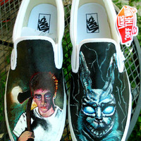Donnie Darko Custom Painted Toms or Vans Canvas Slip On Shoes Men Women Child Any Size