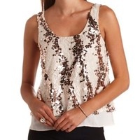 Sequin Lace & Chiffon Tank Top by Charlotte Russe - Pearl Blush