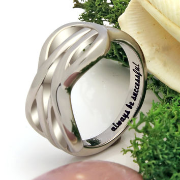 "Infinity Ring, Friend Ring Double Infinity Symbol Ring ""Always Be Successful"" Engraved on Inside Best Gift for Friend"
