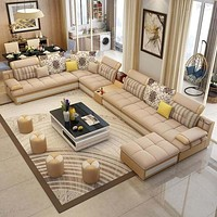 Luxury Modern U Shaped Sectional Fabric Sofa Set With Ottoman
