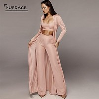 Fuedage Autumn Two Piece Set Top And Pants Spaghetti Strap 3 Piece Set Women Bandage Party Outfits Romper Women Jumpsuit