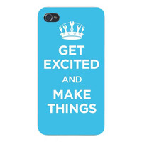 Apple Iphone Custom Case 4 4s Snap on - 'Get Excited and Make Things' w/ Wrenches on Crown