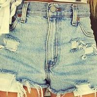 Mystery DISTRESSED High or Low Waisted Shorts / Sexy Denim: All Sizes
