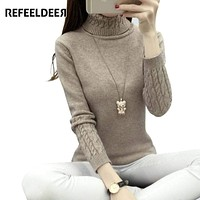 Women Long Sleeve Turtle Neck Cable Knit Sweater