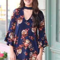 Cut Out Neck Floral Bell Sleeve Suedette Top {Navy}