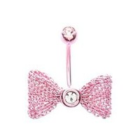 Morbid Metals 14G Pink Mesh Bow Curved Navel Barbell - 395821
