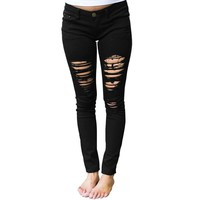 Black Distressed Jeans for Women