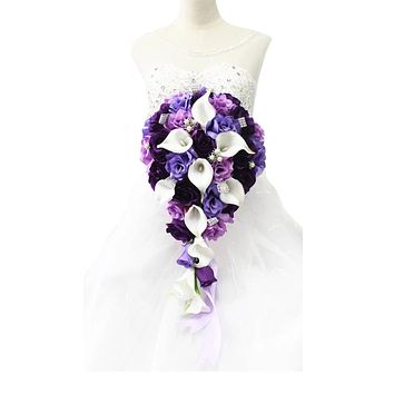 Elegant large cascading bouquet in shades of purple lilac and lavender - artificial flowers