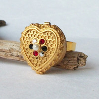 Vintage Heart Button Cover Adjustable Ring, Eco-Friendly Ring, Vintage Earring, Upcycled Jewelry