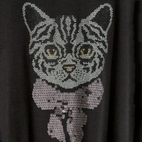 Casual Solid T-shirt Cat Print Sequin O-Neck T-shirt Short Sleeve Plus Size T-shirt for Full Figure Women