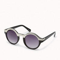 F3320 Metal-Trimmed Round Sunglasses