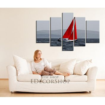 CANVAS ART Red Boat on Sea Canvas Print Large Size Large Art Canvas for Wall Decor