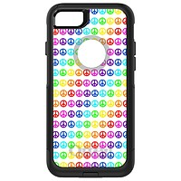 DistinctInk™ OtterBox Commuter Series Case for Apple iPhone or Samsung Galaxy - White Rainbow Peace Signs